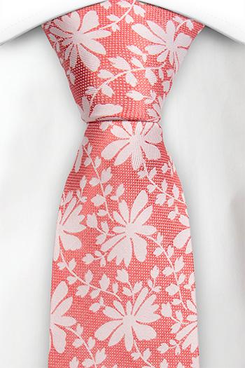 Silke Slips, Korallrødt ved, gulhvitt blomstermønster & blader, Rosa, Blomster