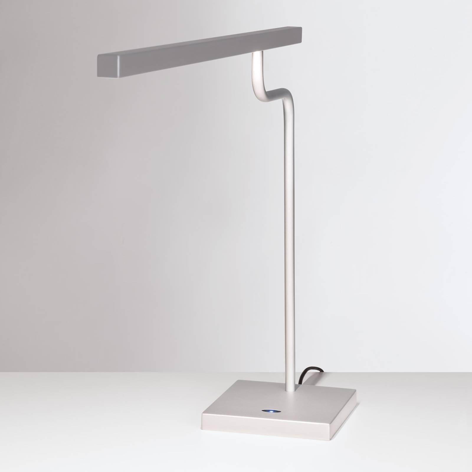 Hopeanharmaa LED-työpöytälamppu MicroStick