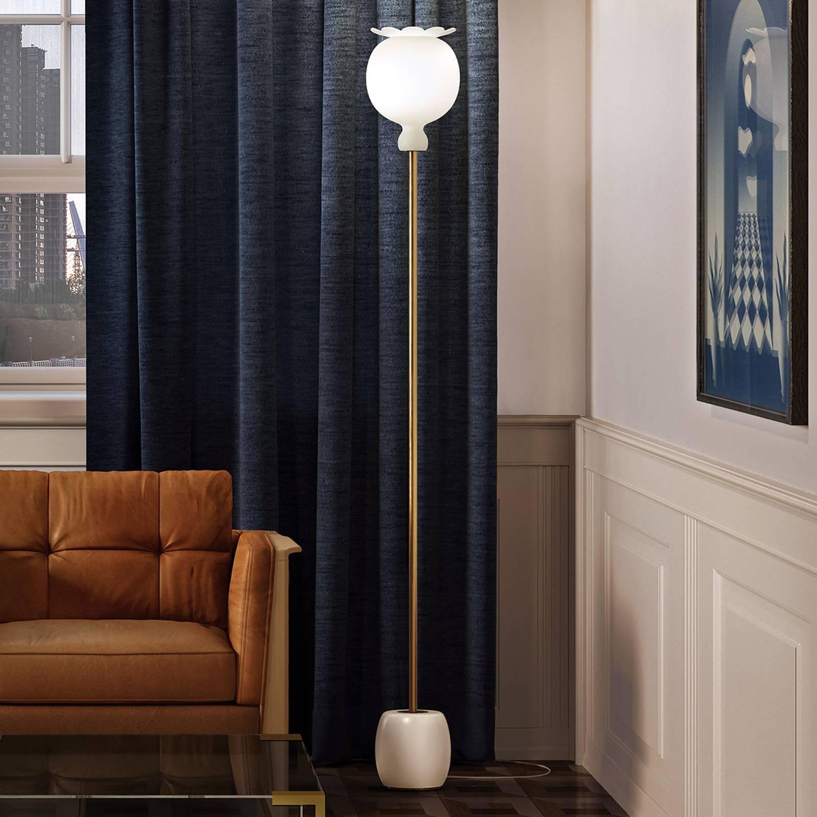 Kundalini Opyo gulvlampe, munnblåst, hvit