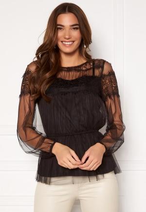 Happy Holly Smilla ls mesh blouse Black 36/38