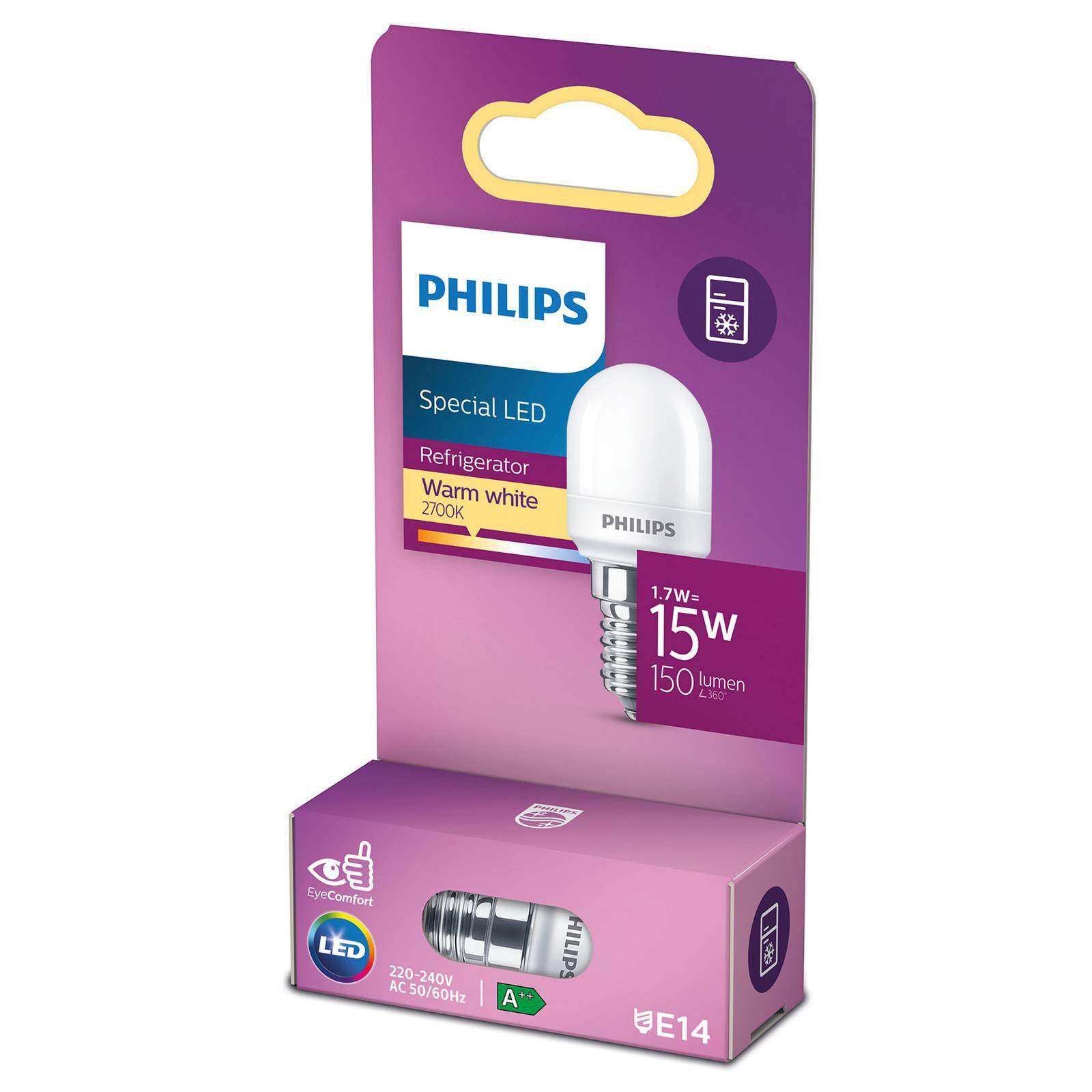 Philips LED-kjøleskappære E14 T25 0,9 W matt