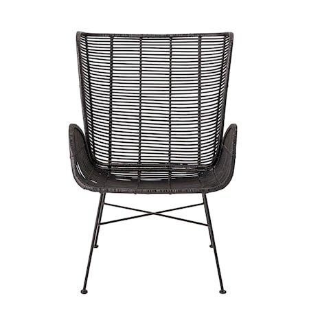 Erika Lounge Chair, Black, Rattan