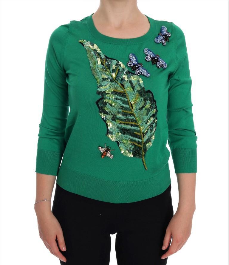 Dolce & Gabbana Women's Silk Crystal Banana Sweater Green TSH1112 - IT36 | XS