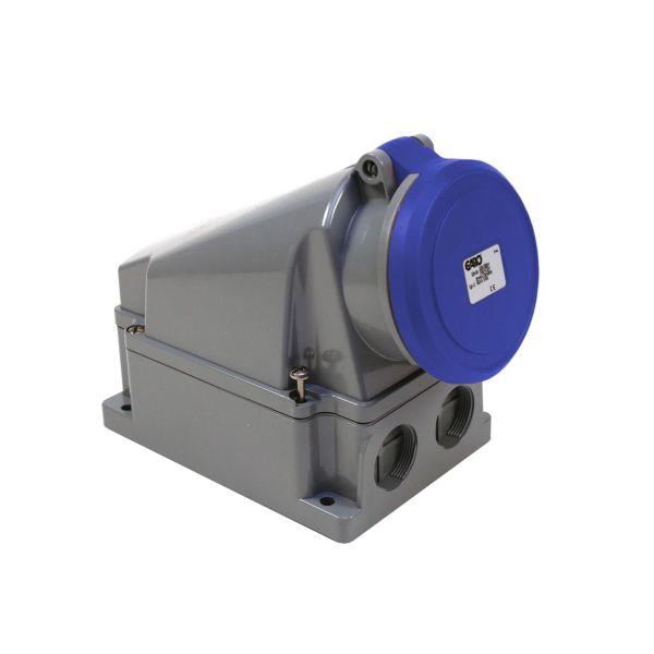 Garo UI 363-9 S + RU Seinäpistorasia IP44, 4-napainen, 63A Sininen, 9 h