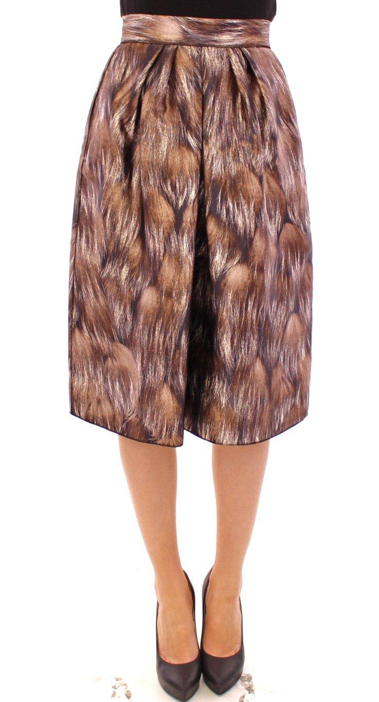 Dolce & Gabbana Women's Floral Silk Straight Full Skirt Brown GSS11483 - IT44|L