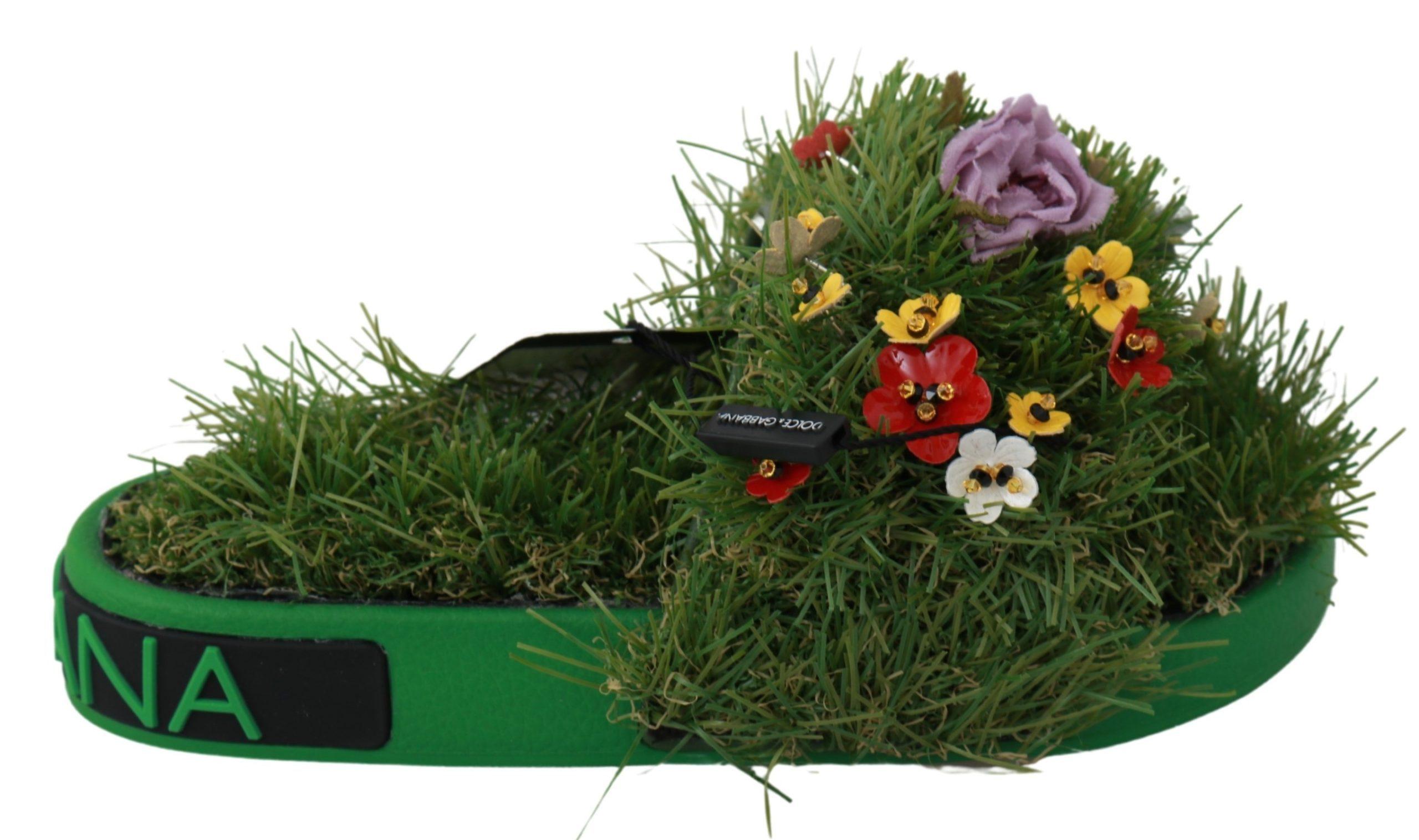 Dolce & Gabbana Women's Grass Floral Sandal Green LA6464 - EU35/US4.5