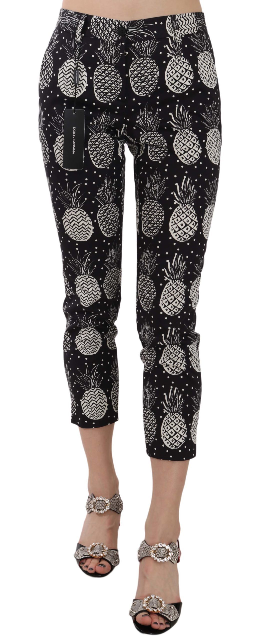 Dolce & Gabbana Women's Pineapple Print Skinny Trouser Black PAN70045 - IT38|XS