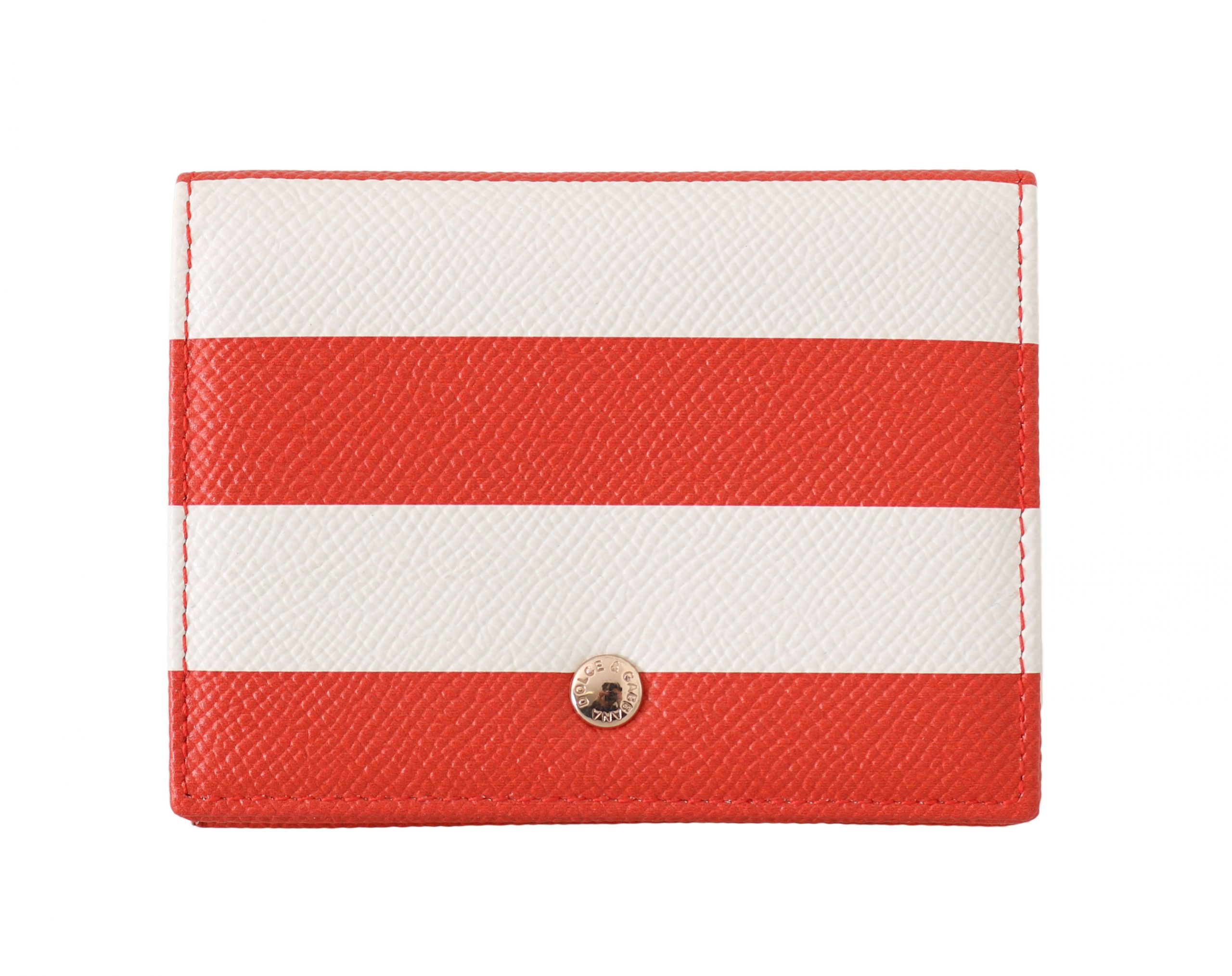 Dolce & Gabbana Women's Striped Leather Cardholder Wallet Red VAS15095