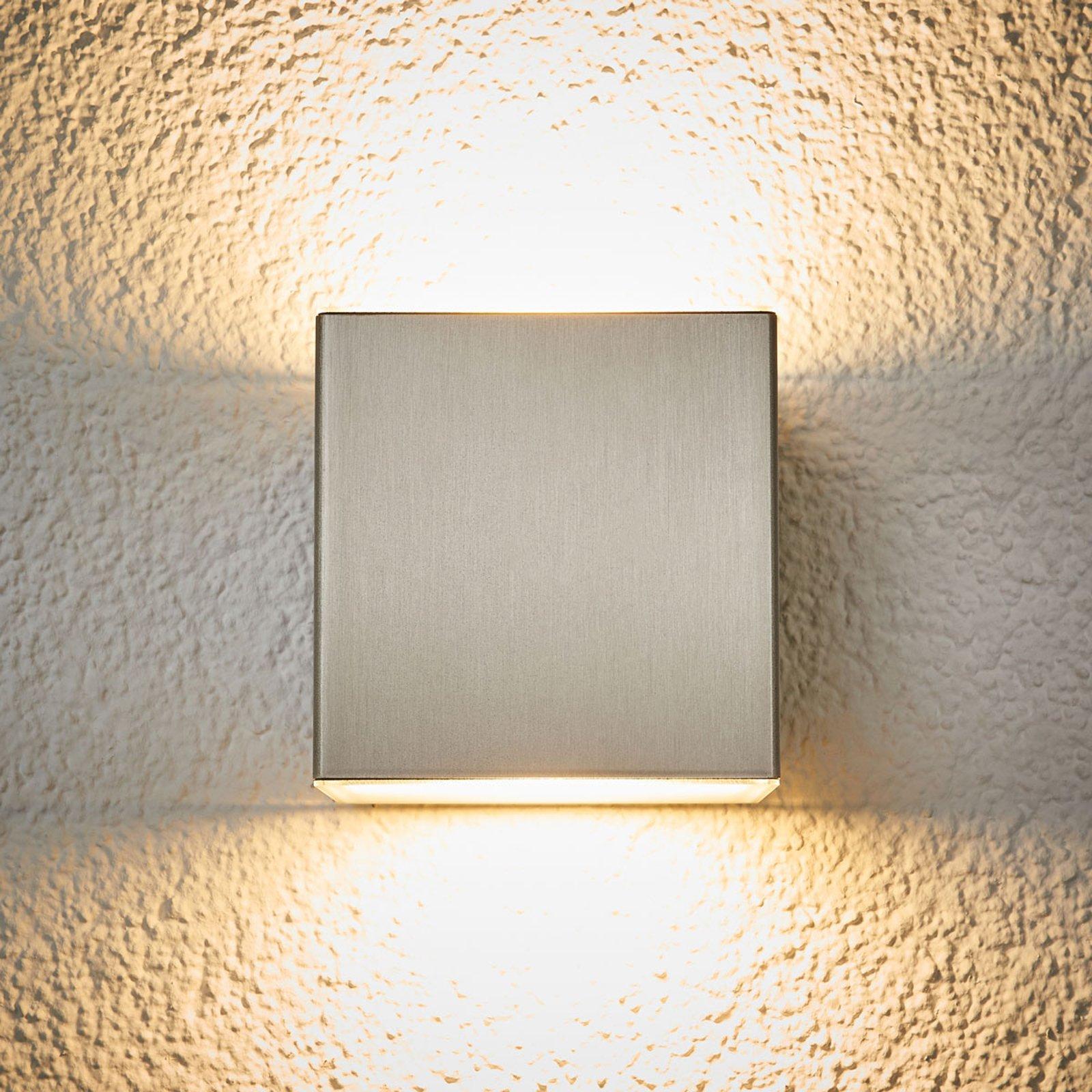LED-utendørs vegglampe Jana av stål 10 x 10 cm