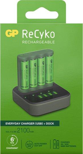 GP Batterier ReCyko B421 Everyday Batterilader USB med ladestasjon D451