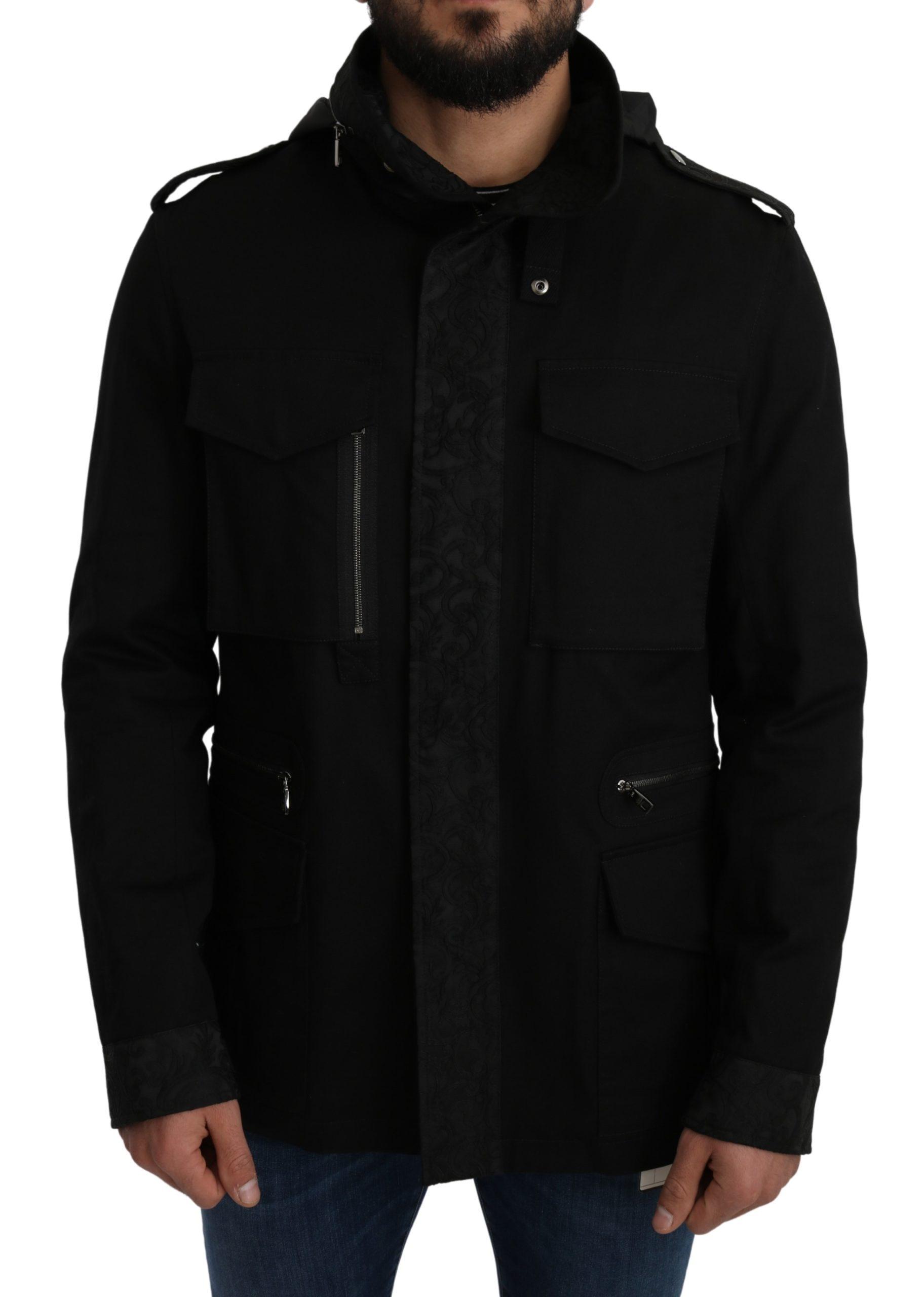 Dolce & Gabbana Men's Solid Jacquard Coat Hooded Jacket Black JKT2658 - IT50   L