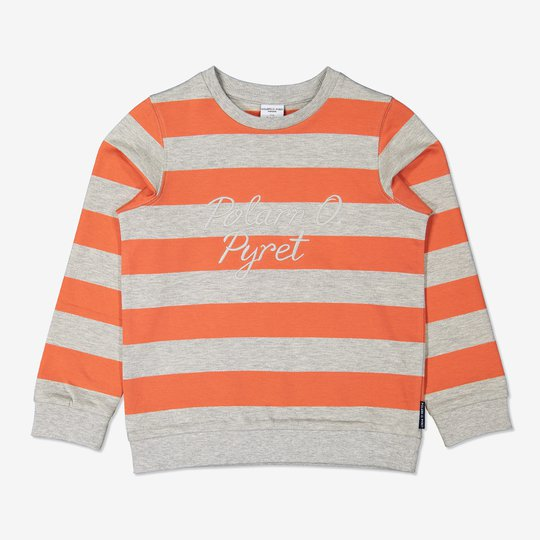 Stripet sweatshirt med broderi orange