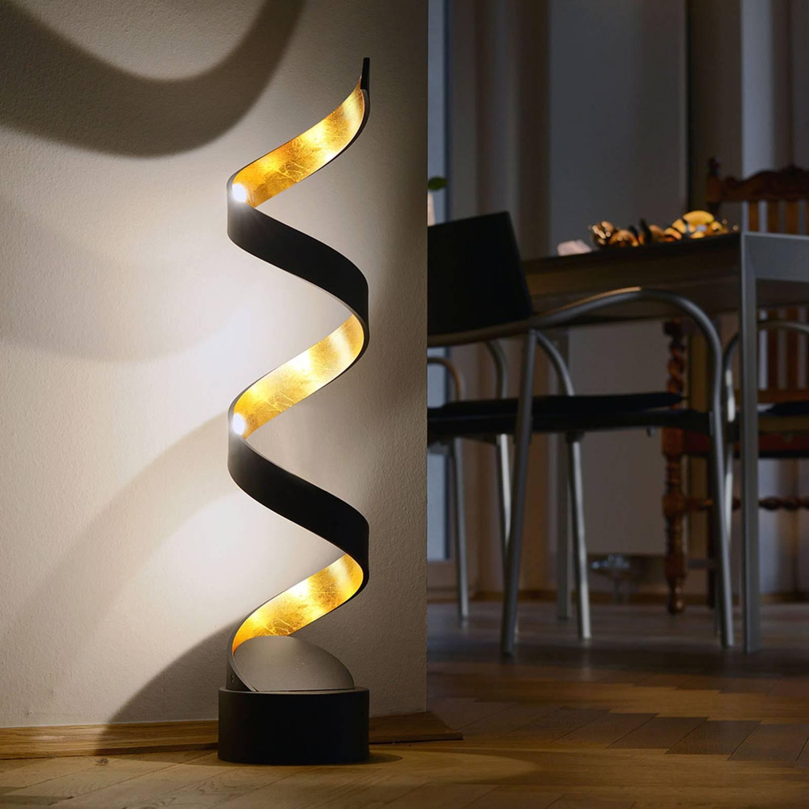 LED-pöytävalaisin Helix, 74 cm, musta-kulta