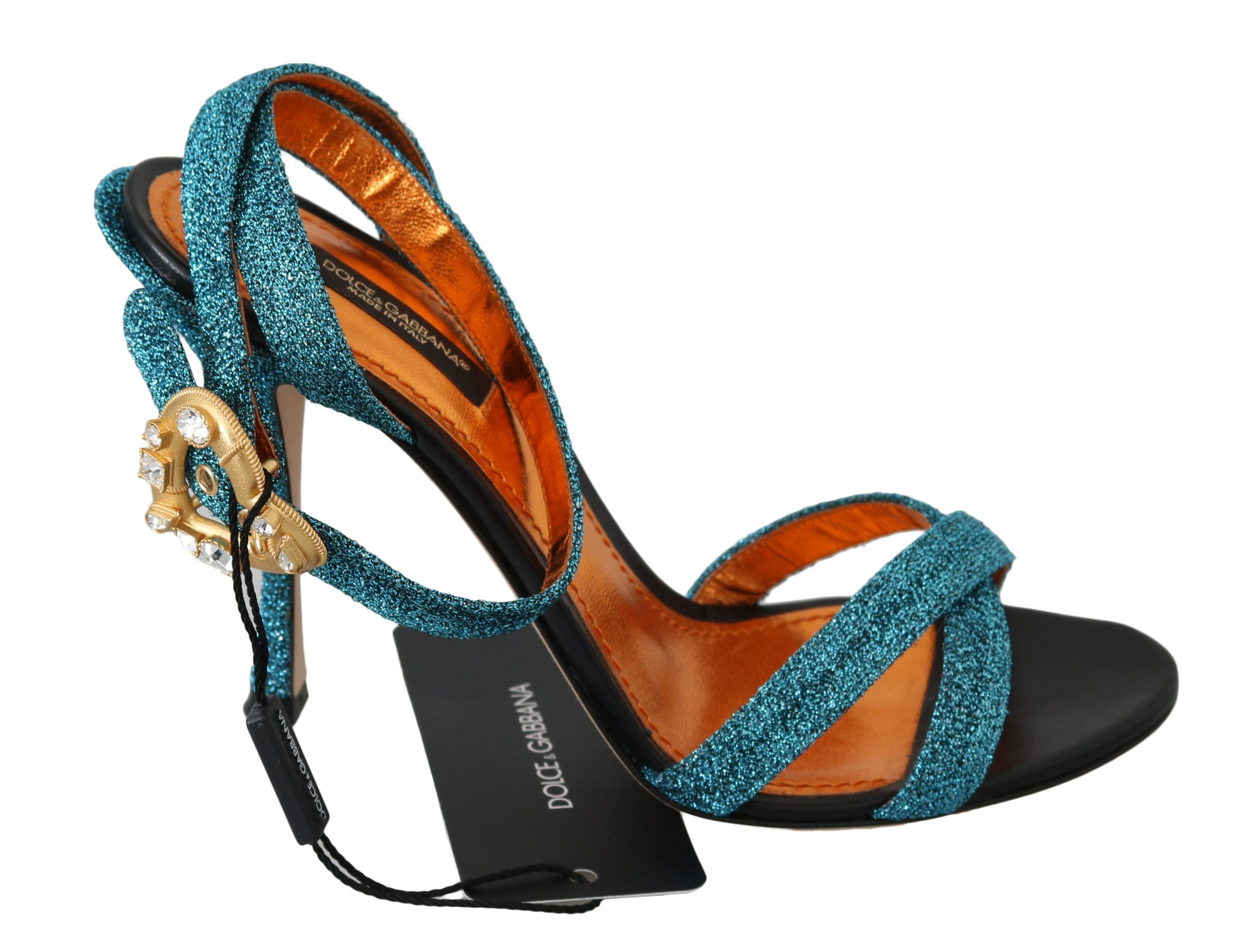Dolce & Gabbana Women's Crystal Gold Heart Sandals Blue LA6254 - EU35/US4.5
