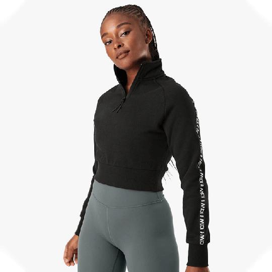 Essential Cropped Logo Sweater, Black
