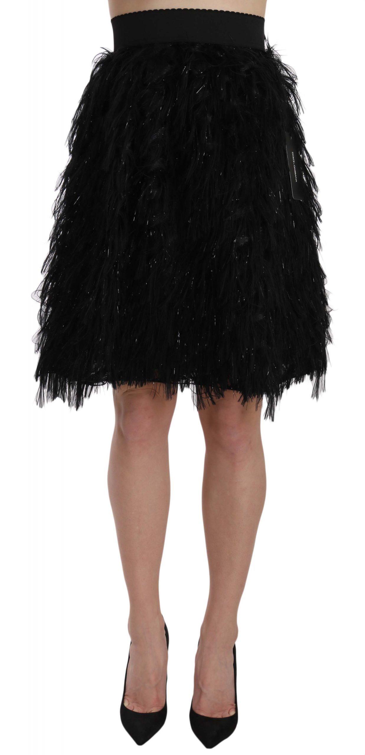 Dolce & Gabbana Women's Fringe Metallic Mini A-line Skirt Black SKI1176 - IT38|XS