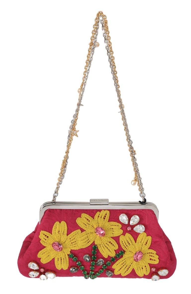 Dolce & Gabbana Women's Brocade Floral Crystal Applique Clutch Bag Pink VAS1738