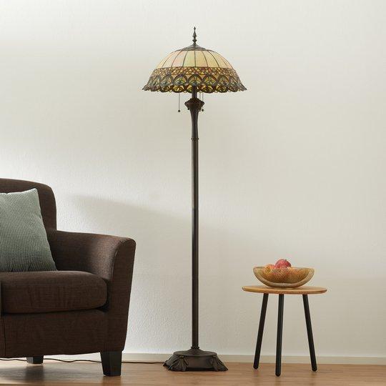 Frieda - stålampe med Tiffany-skjerm
