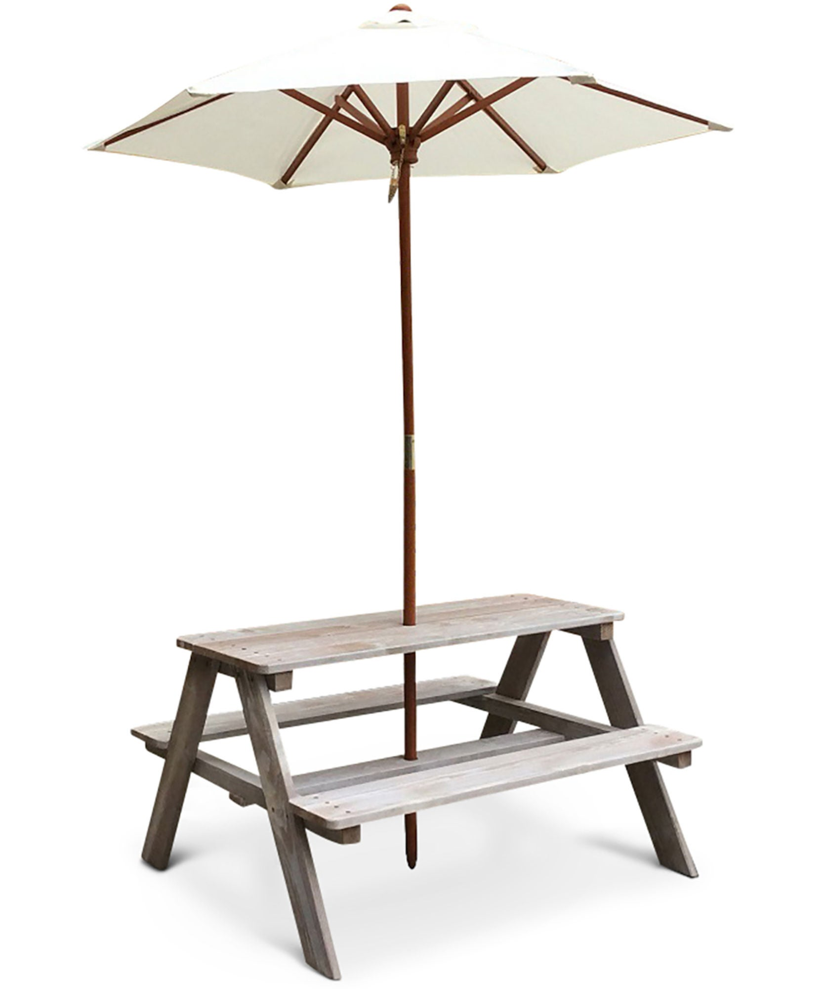 Woodlii Piknikpöytä Aurinkovarjolla, Harmaa