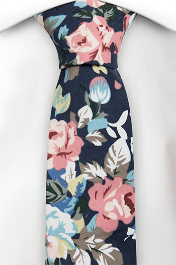Bomull Smale Slips, Rosa, blå & gule blomster & blader på blå base, Notch GUY
