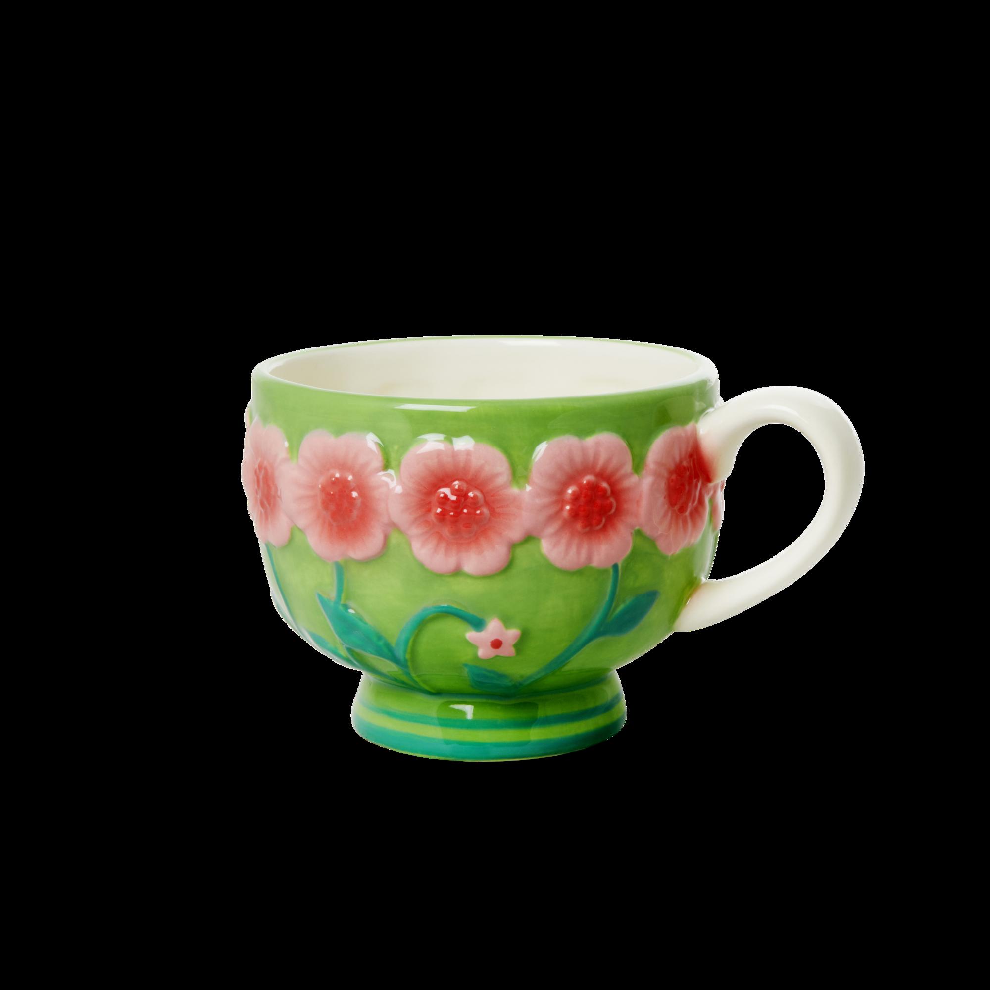 Rice - Ceramic Mug - Embossed Pink & Sage Green Flower Design