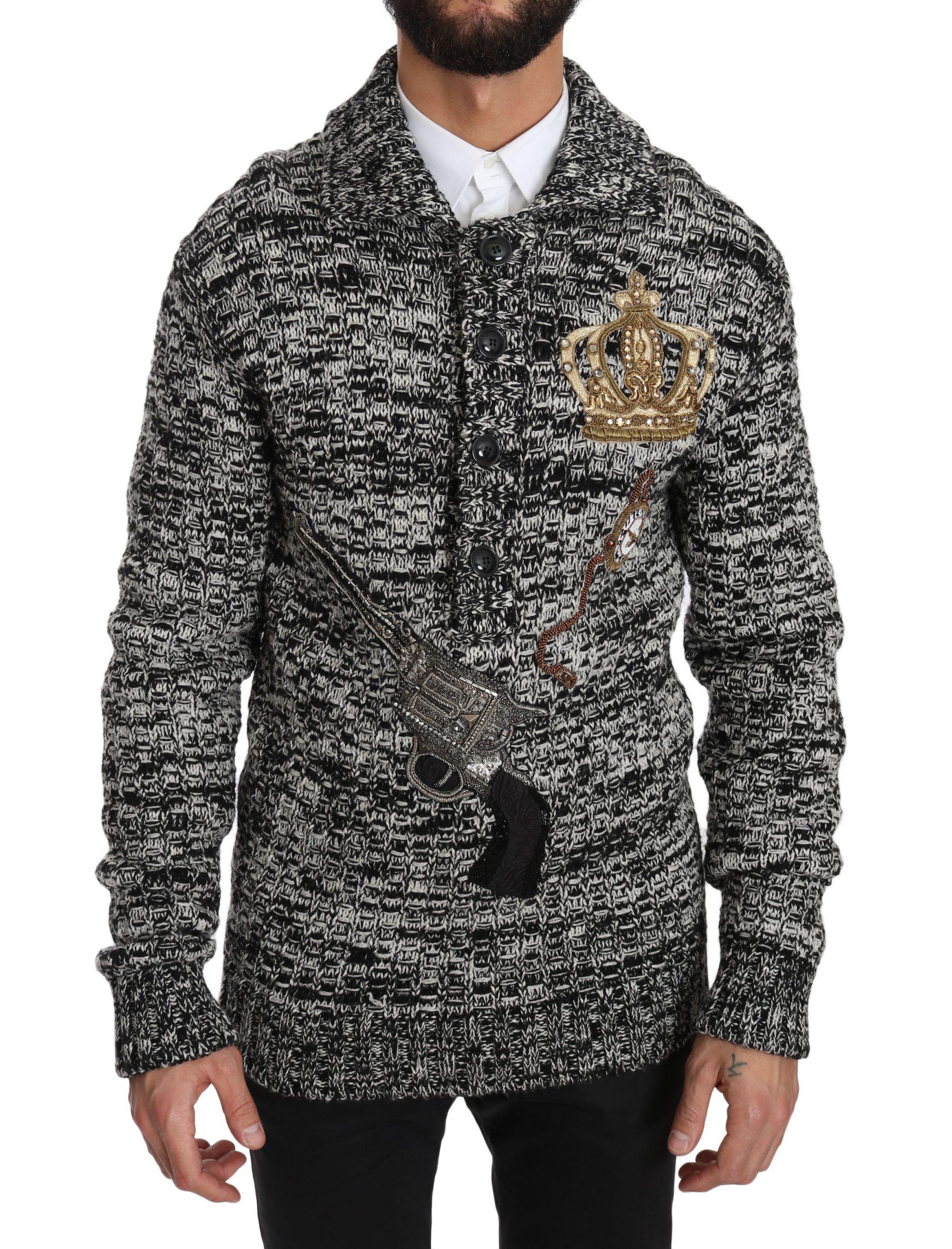 Dolce & Gabbana Men's Wool Crystal SICILIAN WESTERN Henley Sweater Gray JKT2300 - IT48 | M