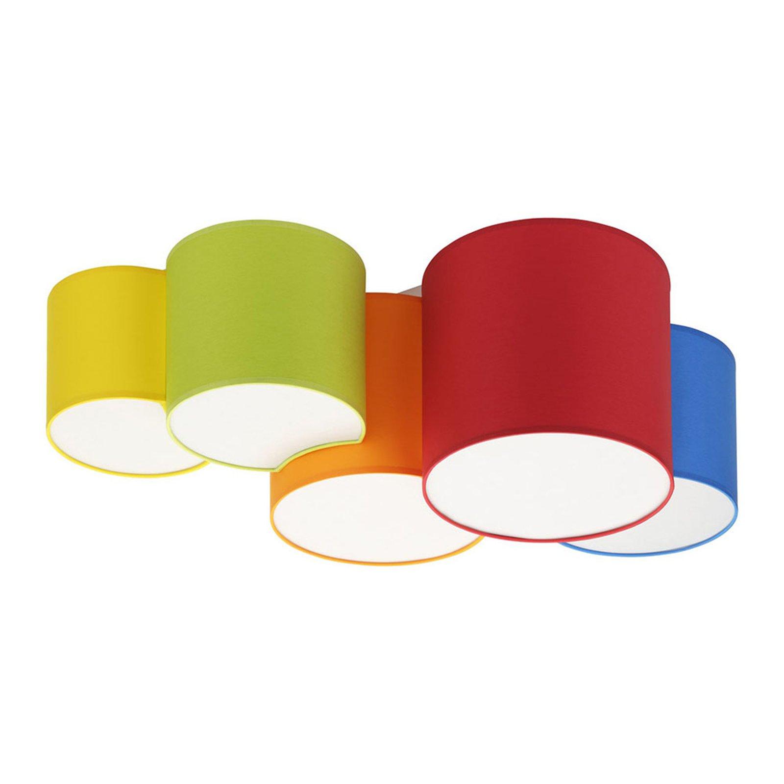 Taklampe Mona, fem lyskilder, flerfarget
