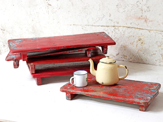 Red Wooden Tray Red