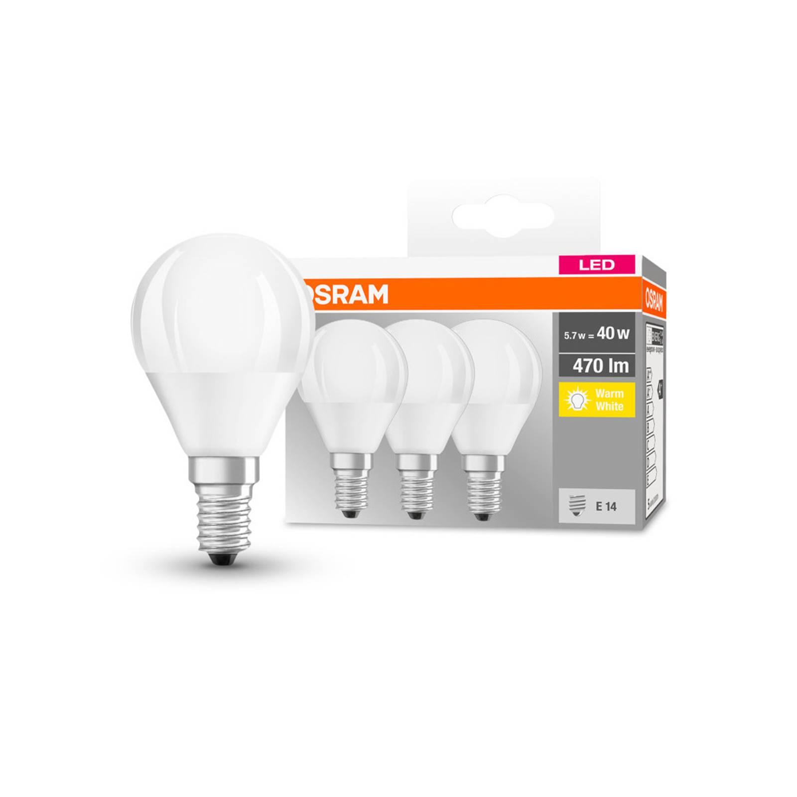 OSRAM-LED-pisara E14 P40 5,5W 2700K 470lm 3 kpl
