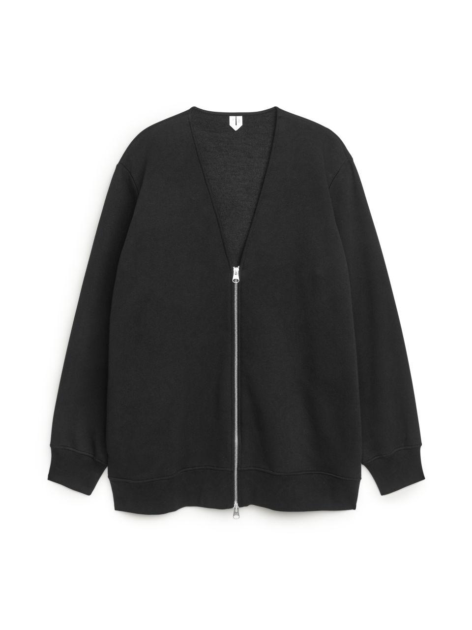 Sweatshirt Zip Cardigan - Black