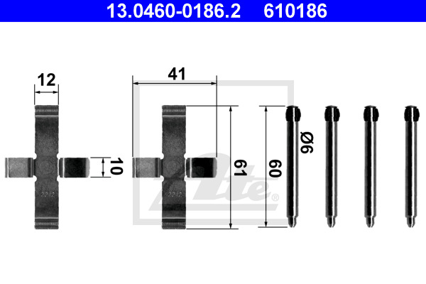 Tarvikesarja, jarrupala ATE 13.0460-0186.2
