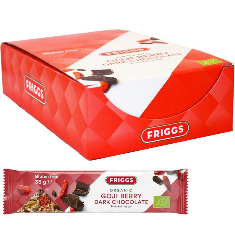 """Laatikollinen hedelmä- ja pähkinäpatukoita """"Goji & Dark Choco"""" 24 x 35 g - 65% alennus"""