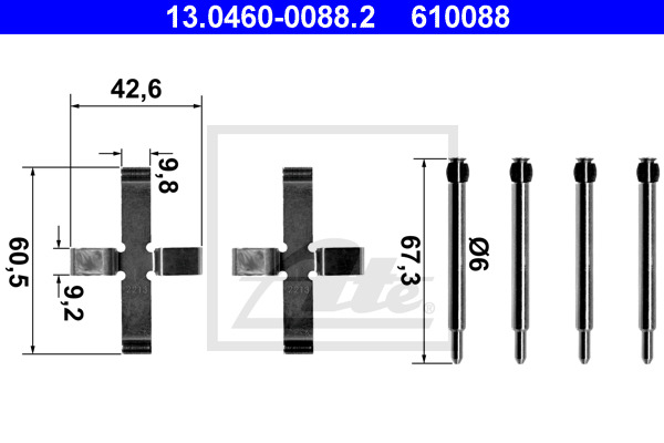 Tarvikesarja, jarrupala ATE 13.0460-0088.2