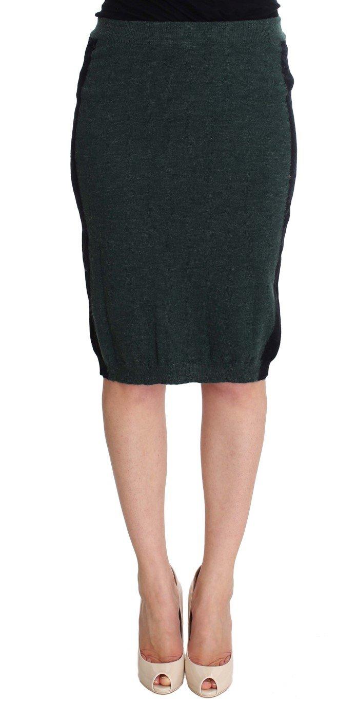 Green Wool Blend Pencil Skirt - IT42|M
