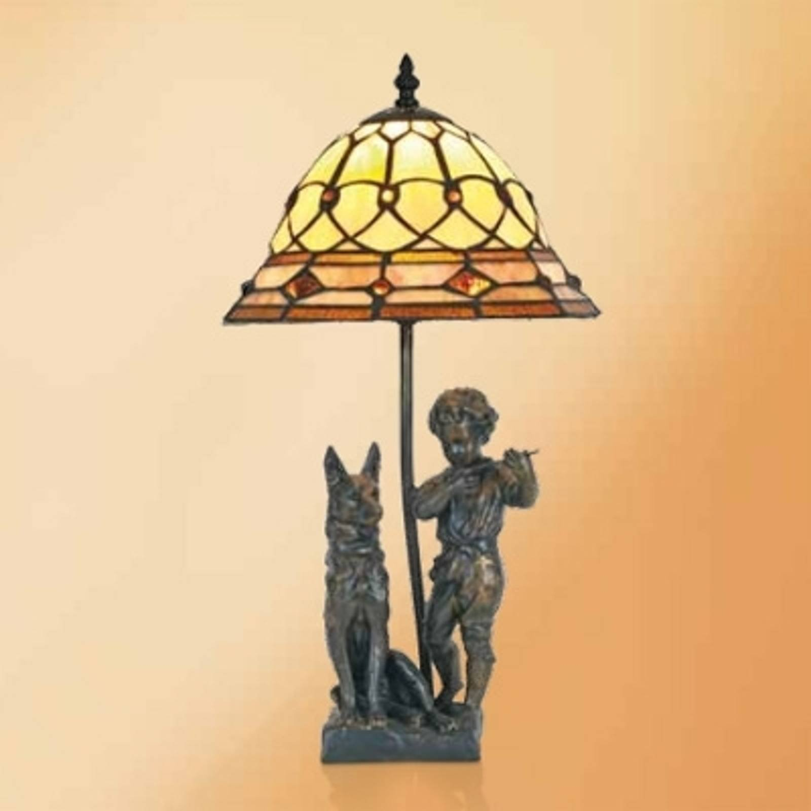 Hugo bordlampe med resin-figurer i Tiffany-stil