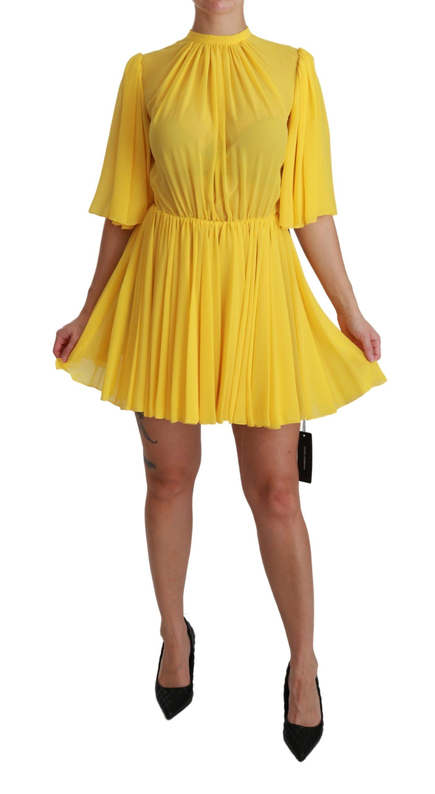 Dolce & Gabbana Women's Pleated A-line Silk Dress Yellow DR2516 - IT40|S