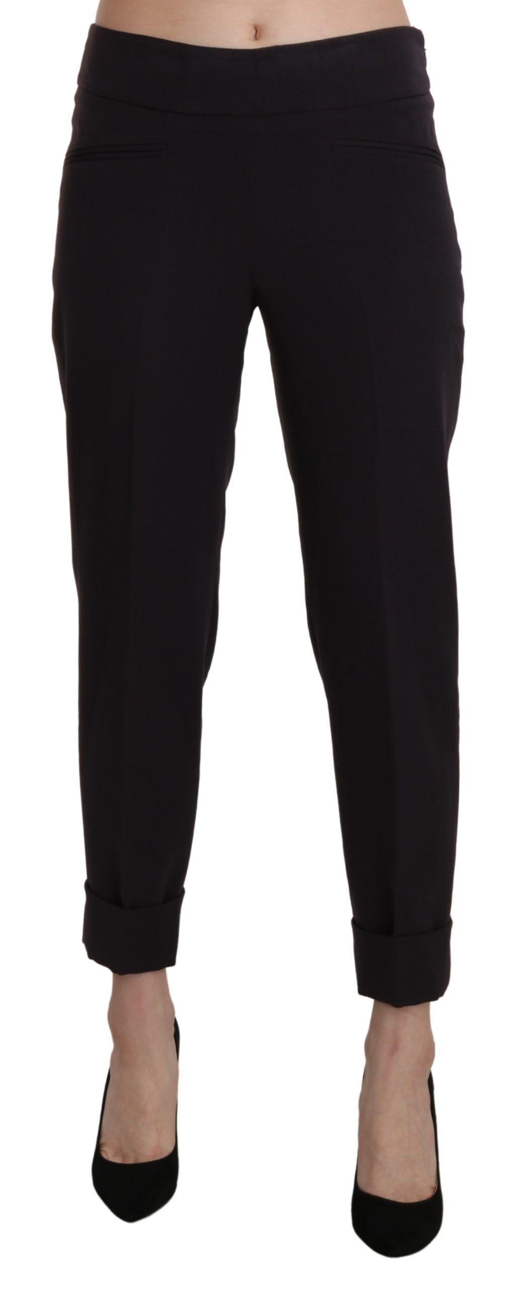 BENCIVENGA Women's Mid Waist Tapered Trousers Black PAN71367-42 - IT42|M