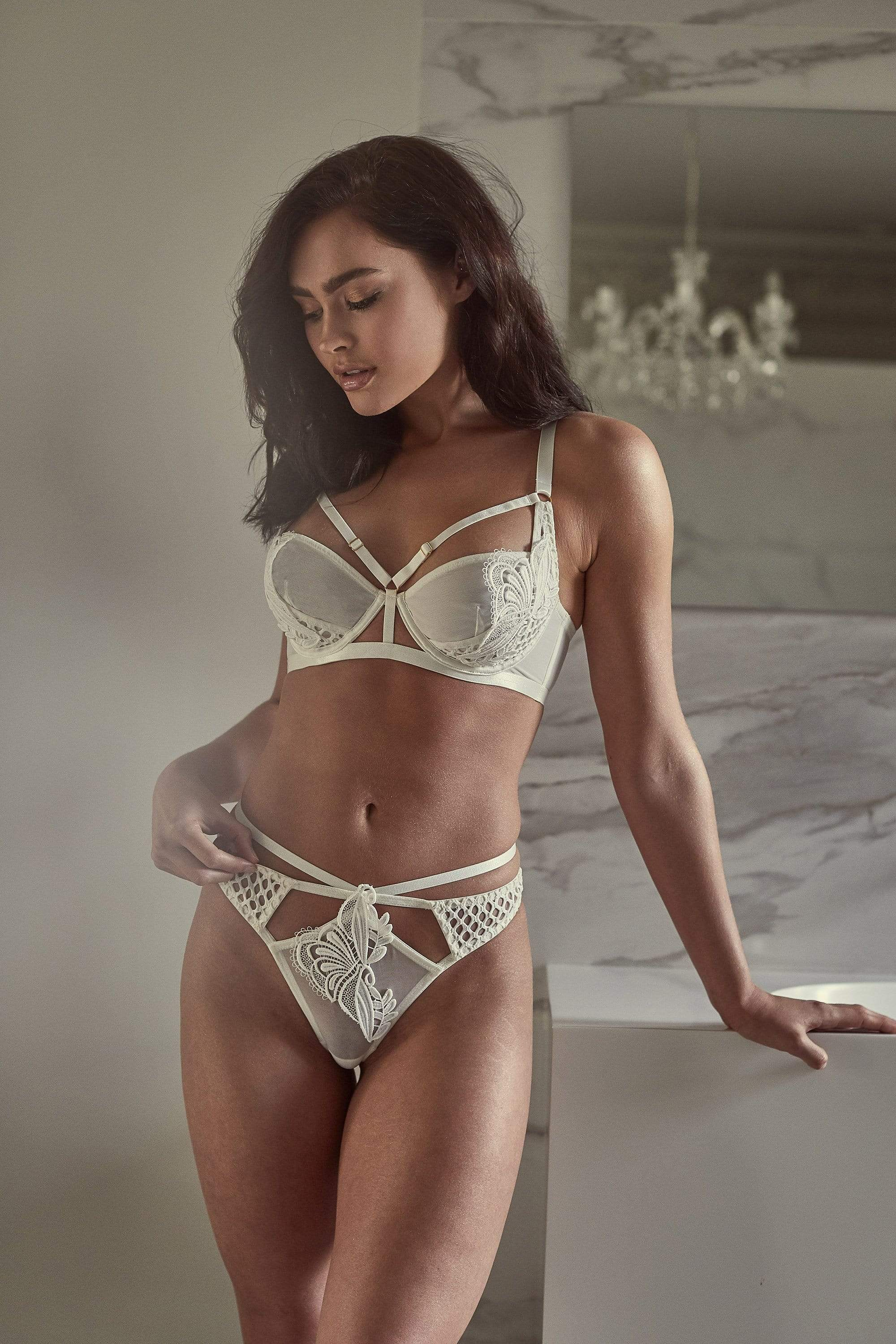 Wolf & Whistle Ivory Keira Fishnet Applique Strappy Thong UK 8 / US 4