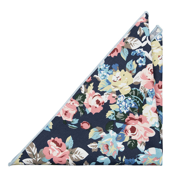 Bomull Lommetørkler, Rosa, blå & gule blomster & blader på blå base, Notch GUY