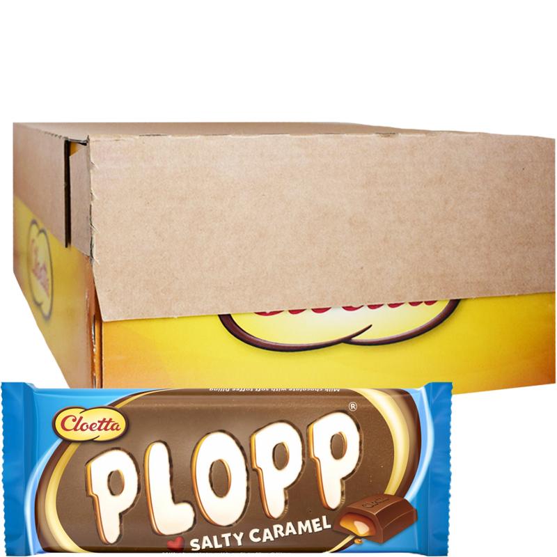 "Hel Låda Godis ""Plopp Salty Caramel"" 28 x 80g - 84% rabatt"
