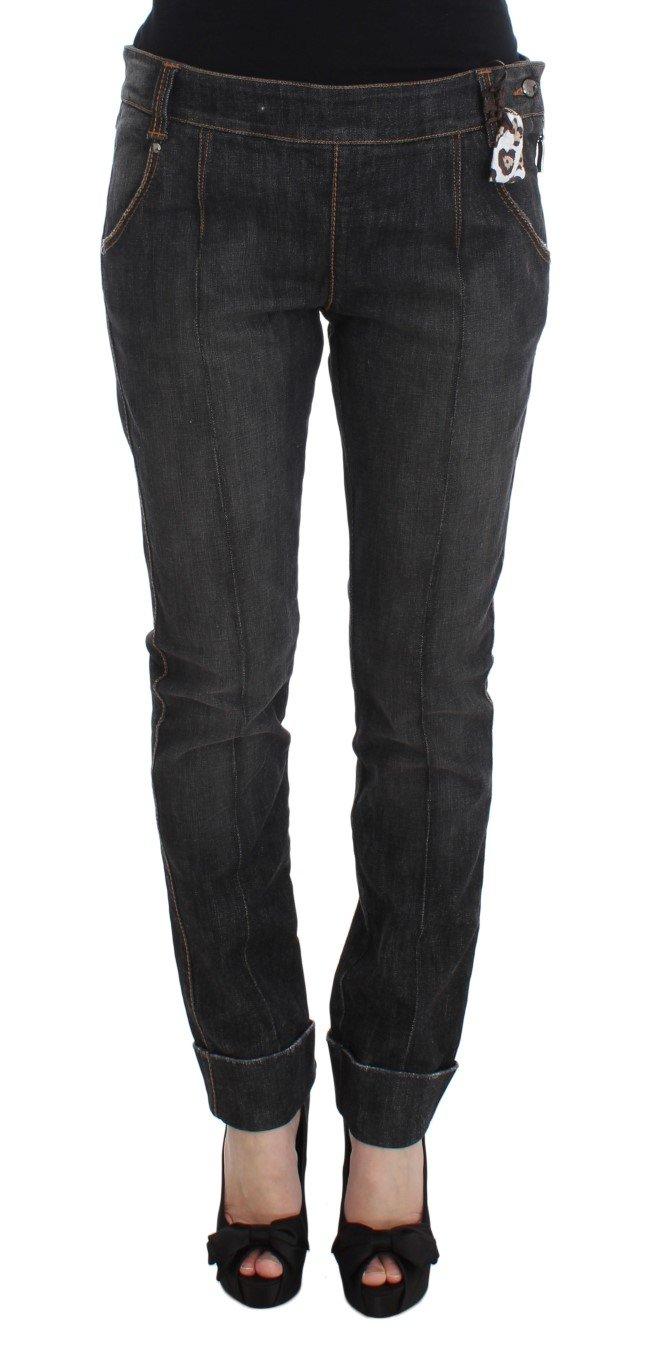 Ermanno Scervino Women's Cotton Slim Fit Denim Jean Gray SIG30281 - IT46|XL
