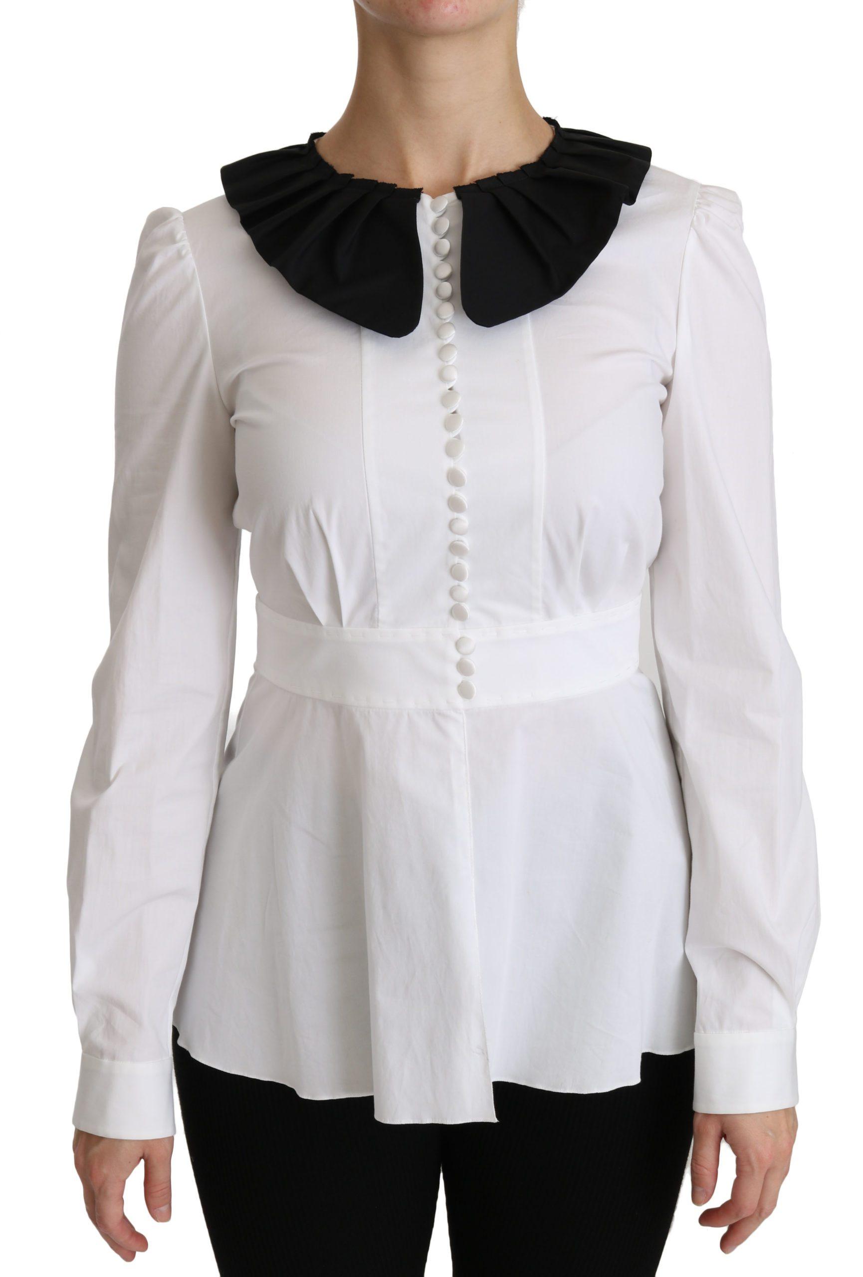 Dolce & Gabbana Women's Collared LS Top White TSH4315 - IT40|S