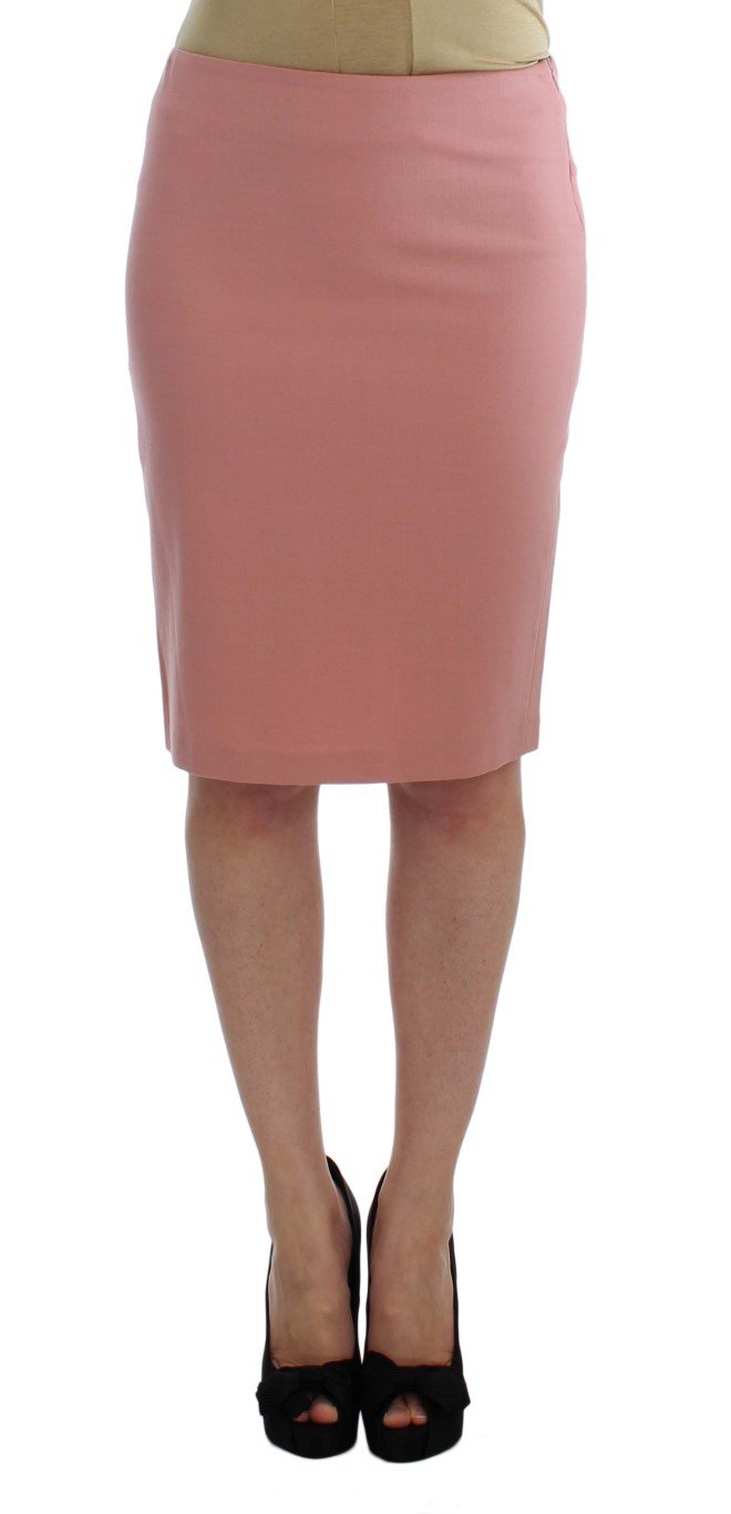 Exte Women's Wool Stretch Straight Pencil Skirt Pink SIG30935 - IT40|S