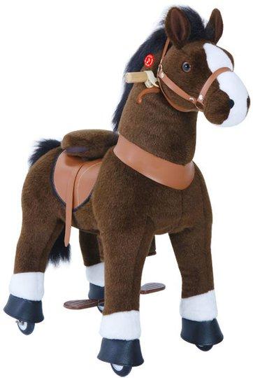 PonyCycle Ride-On Hest Med Brems Mørkebrun/Hvit