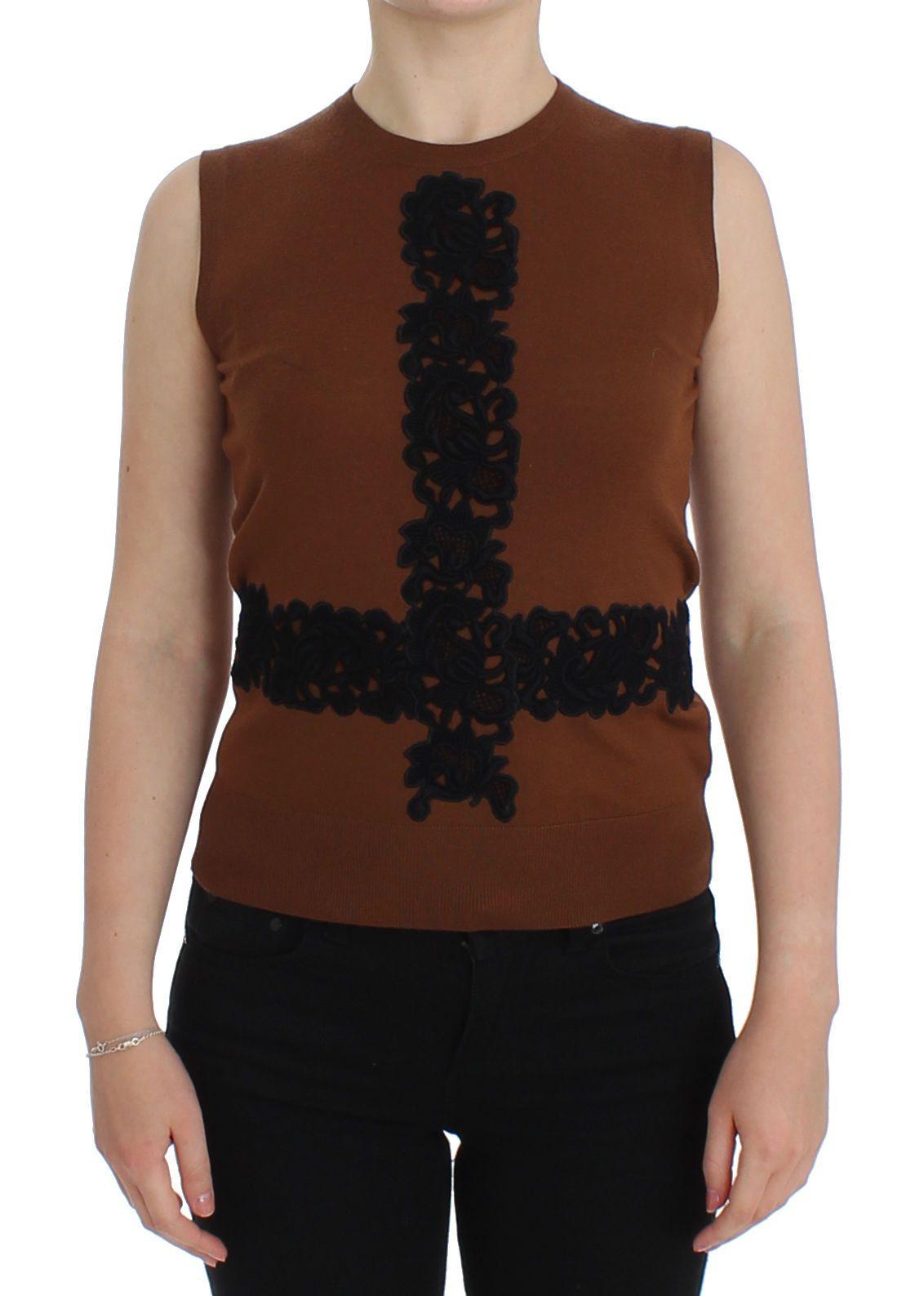 Dolce & Gabbana Women's Wool Lace Vest Top Beige SIG13245 - IT38|XS