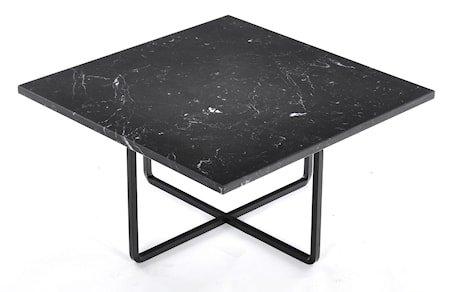 Ninety 60x60 sofabord - Svart marquina/svart metallstomme