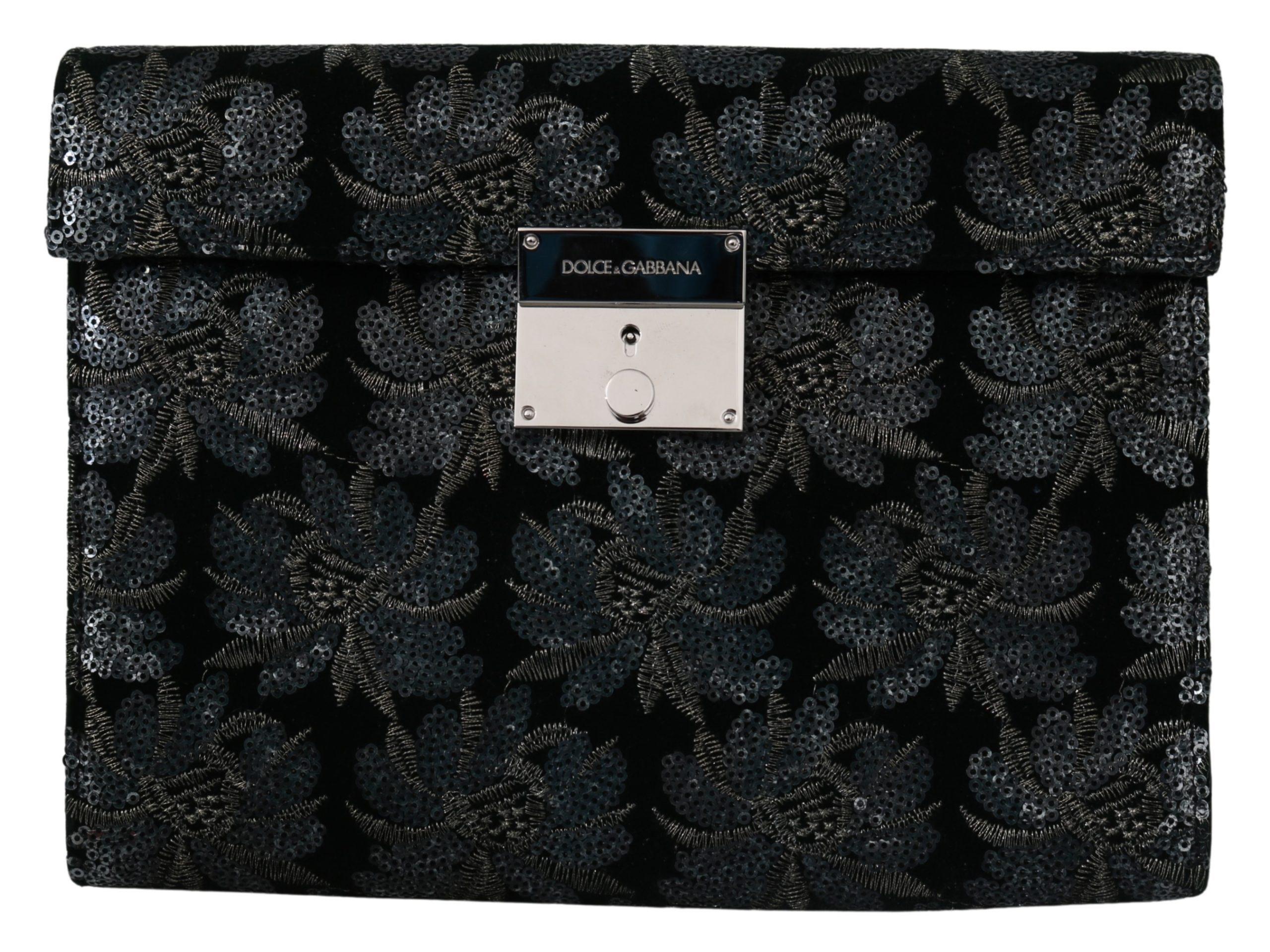 Dolce & Gabbana Men's Ricamo Sequined Leather Briefcase Bag Black VAS9861
