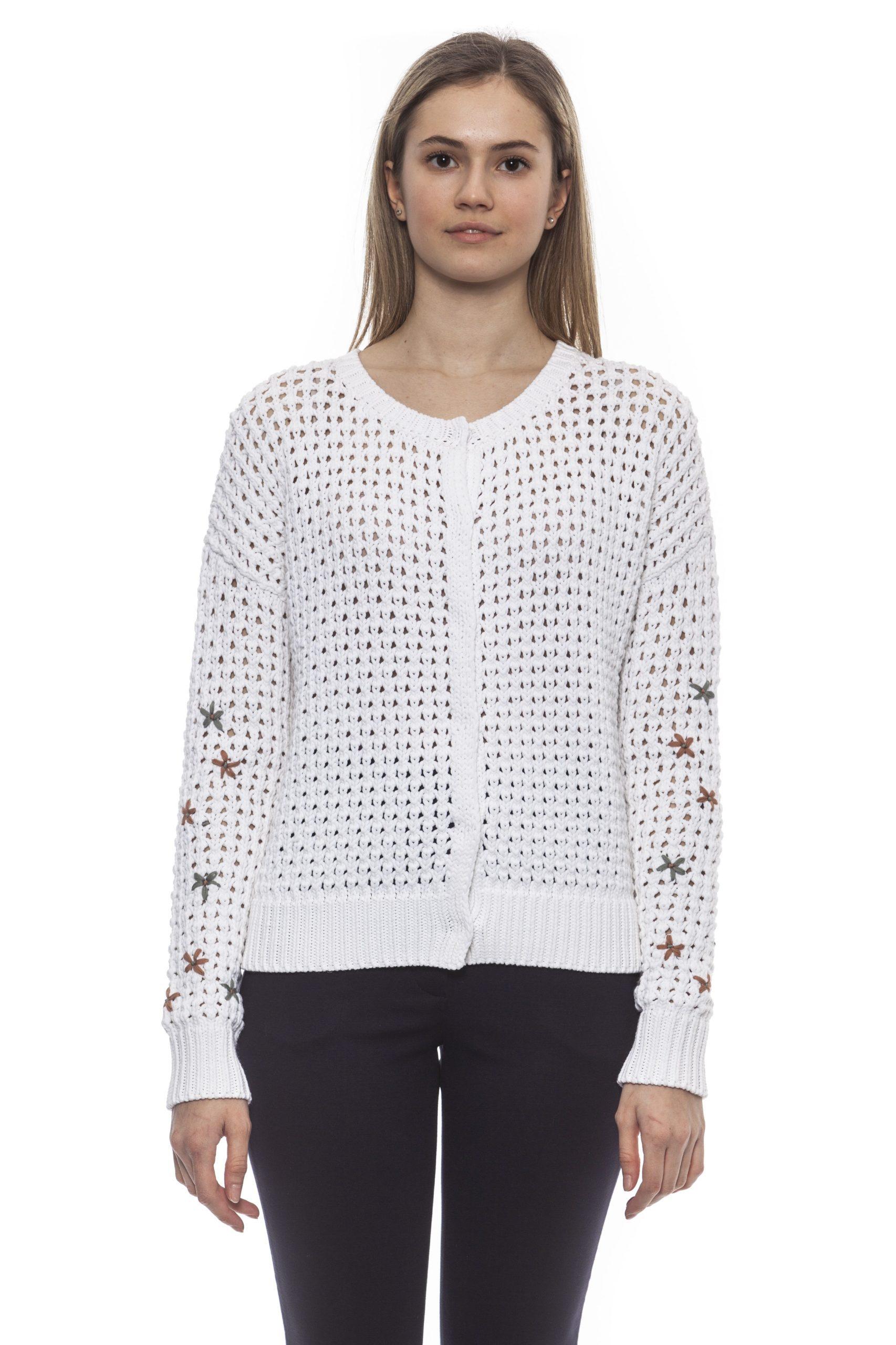 Peserico Women's D Bianco Sweater White PE1383075 - IT42 | S