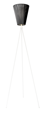 Oslo Wood golvlampa – Svart skärm/Vit fot