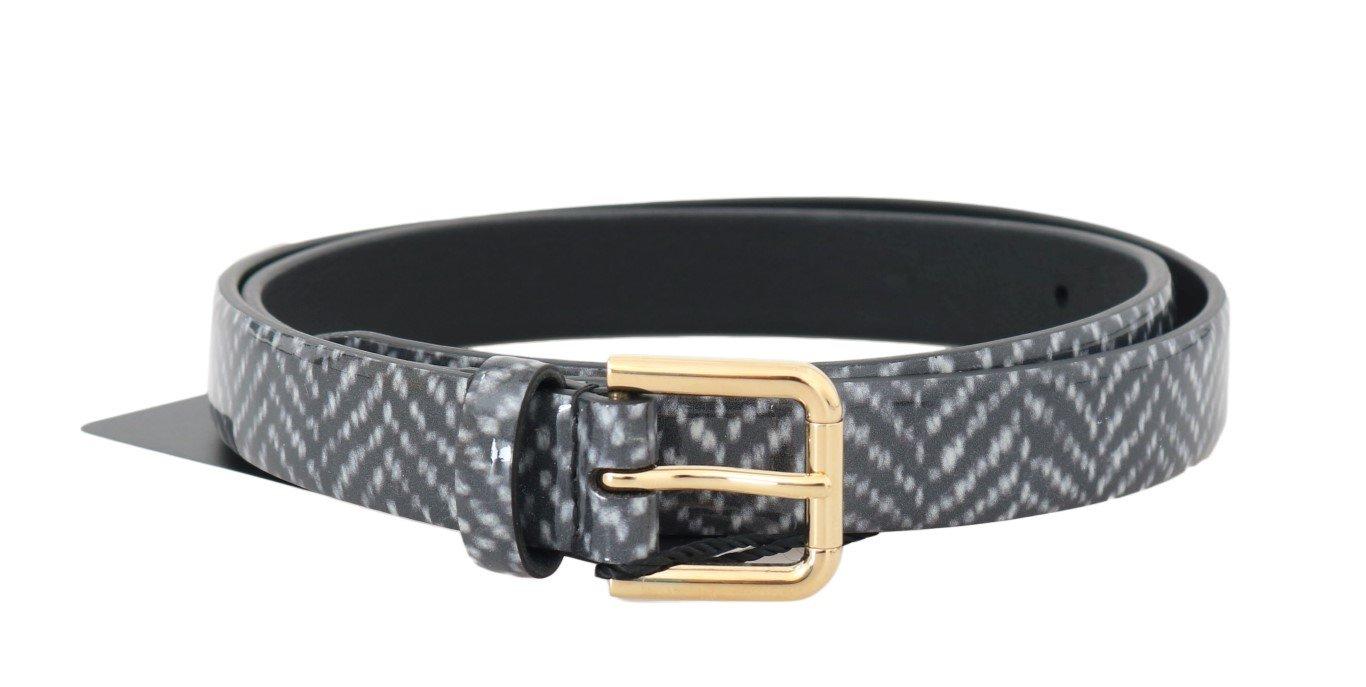 Dolce & Gabbana Women's Chevron Pattern Leather Belt Multicolor BEL50031 - 70 cm / 28 Inches